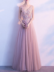 cheap -A-Line Luxurious Pink Wedding Guest Formal Evening Dress V Neck Sleeveless Floor Length Tulle with Appliques 2020