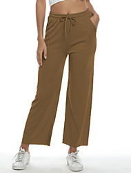 cheap -Women's Basic Loose Wide Leg Pants - Solid Colored High Waist Black Blushing Pink Brown S / M / L