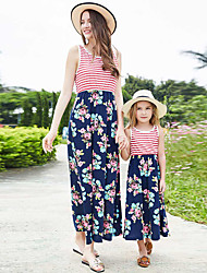 cheap -Mommy and Me Boho Sweet Rose Striped Floral Print Sleeveless Knee-length Dress Blue