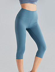 cheap -Women's High Waist Yoga Pants Capri Leggings Butt Lift 4 Way Stretch Breathable Green Blue Nylon Non See-through Gym Workout Running Fitness Sports Activewear High Elasticity Skinny