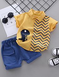 Недорогие -малыш Мальчики Классический Панк & Готика Белый Полоски Кулиска С короткими рукавами Обычный Обычная Набор одежды Белый