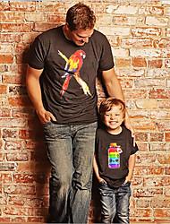 abordables -Papa et moi Actif Basique Arc-en-ciel Graphique Animal Manches Courtes Normal Tee-shirts Noir