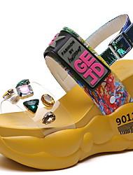cheap -Women's Sandals Wedge Sandals Heel Sandals Spring & Summer Wedge Heel Round Toe Daily PU White / Yellow