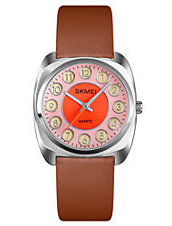 cheap -SKMEI Ladies Quartz Watches Minimalist Fashion Black Orange Genuine Leather Japanese Quartz Purple Orange Blue Water Resistant / Waterproof Luminous Shock Resistant 30 m 1 pc Analog One Year Battery