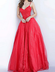 cheap -Ball Gown Elegant Floral Engagement Prom Dress Spaghetti Strap Sleeveless Floor Length Tulle with Pleats Appliques 2020