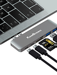 cheap -KawBrown 6 in 1 Aluminum USB C Hub USB Type C Hub Adapter USB Splitter USB Dock Type C HUB for Laptop Macbook