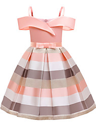 cheap -Kids Little Girls' Dress Striped Pleated Bow Blue Blushing Pink Knee-length Sleeveless Active Vintage Dresses Regular Fit