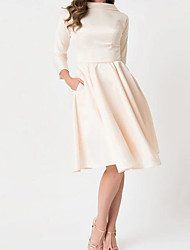 cheap -A-Line Wedding Dresses High Neck Knee Length Satin Long Sleeve Casual Little White Dress with Bow(s) 2020