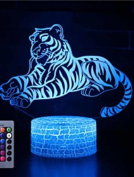 cheap -3D Night Lights Tiger16 Colors Light Home Decoration Lamp Amazing Visualization Optical Illusion Gift Button Halloween Three-in-One Modeatmosphere Lamp
