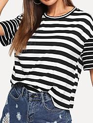 abordables -Femme Rayé Tee-shirt Quotidien Noir / Rouge