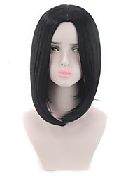 cheap -Synthetic Wig kinky Straight Middle Part Wig Short Natural Black Synthetic Hair 12 inch Women's Fashionable Design Life Classic Black