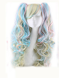 cheap -Synthetic Wig Curly Middle Part Wig Long Black / White Pink+Red Bright Purple Black / Red Mint Green Synthetic Hair 18 inch Women's Easy dressing Highlighted / Balayage Hair Middle Part Silver Red