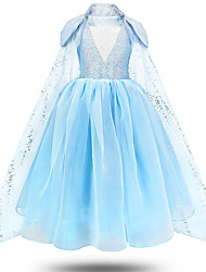 cheap -Princess Elsa Dress Flower Girl Dress Girls' Movie Cosplay A-Line Slip Vacation Dress Blue Dress Children's Day Masquerade Tulle Polyester