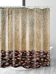 Недорогие -кофе в зернах с цифровой печатью водонепроницаемая ткань занавеска для душа для ванной комнаты домашний декор покрытый ванной шторы лайнер включает в себя с крючками