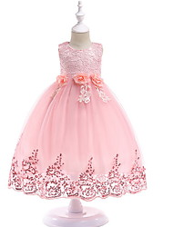cheap -Princess / Ball Gown Floor Length Wedding / Party Flower Girl Dresses - Lace / Tulle Sleeveless Jewel Neck with Bow(s) / Paillette