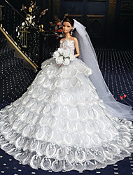 cheap -Doll accessories Doll Clothes Doll Dress Wedding Dress Party / Evening Wedding Ball Gown Print Tulle Lace Organza For 11.5 Inch Doll Handmade Toy for Girl's Birthday Gifts  Doll Not Included / Kids