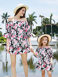 cheap -Mommy and Me Boho Sweet Black & White Floral Color Block Print Half Sleeve Knee-length Dress Blushing Pink