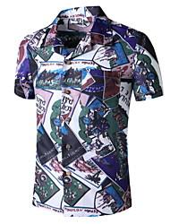 cheap -Men's Graphic Print Shirt Tropical Daily Button Down Collar Blue / Short Sleeve