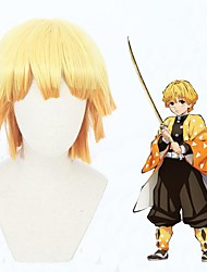 cheap -Cosplay Wig Agatsuma Zenitsu Demon Slayer Loose Curl Asymmetrical With Bangs Wig Short Orange Synthetic Hair 12 inch Men's Anime Cosplay Exquisite Mixed Color
