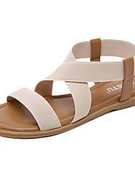 cheap -Women's Sandals Summer Flat Heel Peep Toe Daily PU Almond / Black