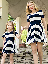 cheap -Mommy and Me Vintage Sweet Blue & White Striped Color Block Print Short Sleeve Knee-length Dress Navy Blue