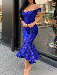 cheap -Mermaid / Trumpet Sparkle Blue Party Wear Formal Evening Dress Off Shoulder Short Sleeve Ankle Length Sequined with Sequin 2020