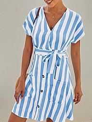 cheap -Women's A Line Dress - Short Sleeves Striped Summer Street chic 2020 Black Blushing Pink Khaki Light Blue S M L XL