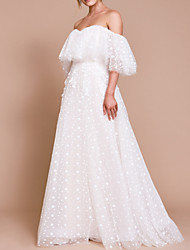 cheap -A-Line Wedding Dresses Off Shoulder Sweep / Brush Train Tulle Half Sleeve Beach Sexy Wedding Dress in Color Backless with Pleats Embroidery Appliques 2020