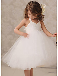 cheap -A-Line Knee Length Wedding / Party Flower Girl Dresses - Lace / Tulle Sleeveless Jewel Neck with Ruching