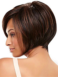 cheap -Synthetic Wig kinky Straight Asymmetrical Wig Short Light Brown Synthetic Hair 12 inch Women's Simple Life Classic Light Brown