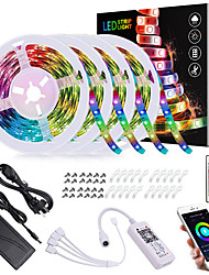 cheap -20M(4x5M) LED Light Strips RGB Tiktok Lights App Intelligent Control Bluetooth Music Sync Waterproof Flexible 5050 SMD 600 LEDs IR 24 Key Bluetooth Controller with Installation Package 12V 6A Adap