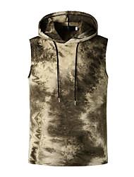 cheap -Men's Tie Dye Print Slim Tank Top Basic Daily Hooded Red / Brown / Navy Blue / Short Sleeve