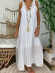 cheap -Women's Shift Dress - Sleeveless Solid Color Summer Elegant 2020 White Black Blushing Pink Light Blue S M L XL XXL XXXL