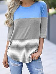 billige -Dame Fargeblokk T-skjorte Rund hals Daglig Blå Gul M L XL 2XL