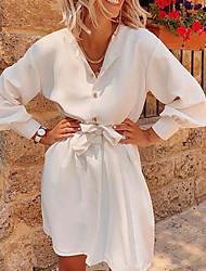 Недорогие -Жен. С летящей юбкой Платье - Длинный рукав Геометрический принт Сплошной цвет V-образный вырез Белый Желтый Зеленый S M L XL
