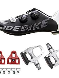 cheap -SIDEBIKE Adults' Cycling Shoes With Pedals & Cleats Road Bike Shoes Cushioning Cycling / Bike Black / Silver Men's Women's Unisex Cycling Shoes