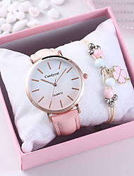 cheap -Women's Quartz Watches Quartz New Arrival Chronograph Analog Blushing Pink / One Year / PU Leather / One Year