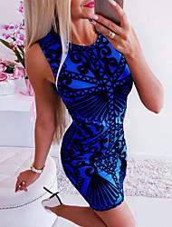 cheap -Women's Mini Bodycon Dress - Sleeveless Geometric Summer Fall Casual Street chic Daily Going out 2020 Blue Light Blue S M L XL