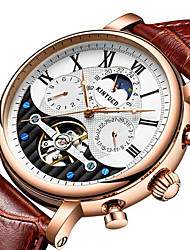 cheap -KINYUED Men's Mechanical Watch Automatic self-winding Formal Style Stylish Genuine Leather Black / Brown 30 m Water Resistant / Waterproof Calendar / date / day Three Time Zones Analog Fashion -