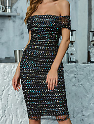 cheap -Women's A-Line Dress - Sleeveless Print Solid Color Sequins Zipper Summer Formal Elegant Daily Going out 2020 Black S M L