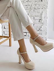 cheap -Women's Heels Spring / Fall Block Heel Closed Toe Daily PU Almond / Black / Red