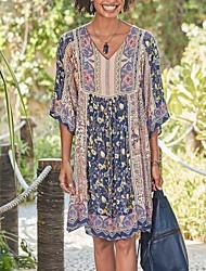 cheap -Women's Shift Dress Knee Length Dress 3/4 Length Sleeve Floral Summer Hot Elegant vacation dresses 2021 Blue Purple Red Yellow Blushing Pink Orange S M L XL XXL 3XL 4XL 5XL