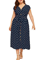 cheap -Women's A Line Dress Midi Dress White Black Fuchsia Navy Blue Short Sleeve Polka Dot Summer V Neck Formal 2021 L XL XXL 3XL 4XL 5XL / Plus Size