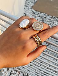 cheap -Ring Geometrical Gold Gold Plated Alloy Basic Vintage Punk 1 set Index Finger Middle Finger Ring Finger / Women's