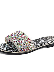 cheap -Women's Slippers & Flip-Flops 2020 Spring &  Fall / Spring & Summer Flat Heel Open Toe Classic Minimalism Daily Beach Crystal / Sparkling Glitter PU Black / Light Pink
