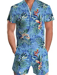 cheap -Men's Basic Blue Romper Onesie, Floral Print US32 / UK32 / EU40 US34 / UK34 / EU42 US36 / UK36 / EU44