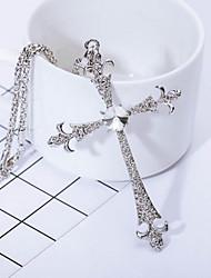 cheap -Cubic Zirconia Pendant Necklace Classic Cross Fashion Chrome Imitation Diamond Silver 50 cm Necklace Jewelry For Anniversary Festival