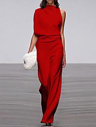 cheap -Jumpsuits Empire Minimalist Wedding Guest Formal Evening Dress High Neck Sleeveless Floor Length Nylon with Sleek 2020