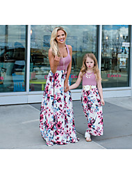cheap -Mommy and Me Basic Boho Floral Sleeveless Maxi Dress Purple