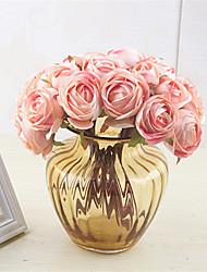 Недорогие -23см европейская невеста держит букет симуляция чайная роза lulian украшения дома 10 палки